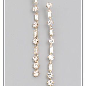 Gold And Rhinestone Dangle Earrings